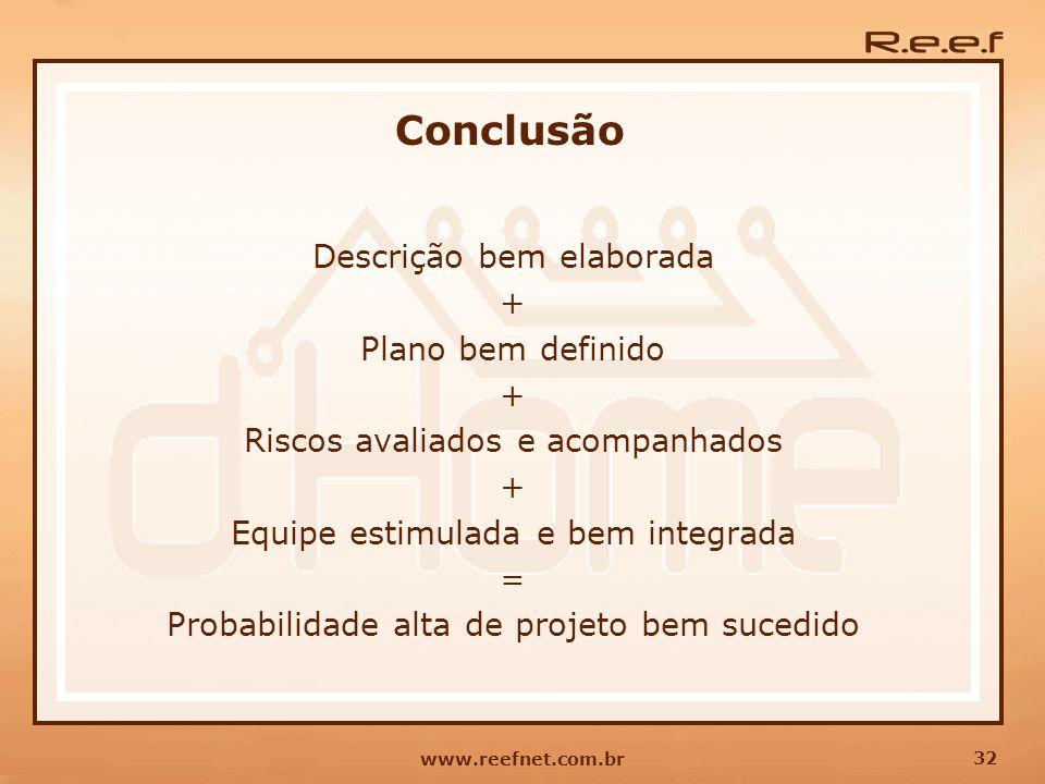 32 www.reefnet.com.br Conclusão Descrição bem elaborada + Plano bem definido + Riscos avaliados e acompanhados + Equipe estimulada e bem integrada = P