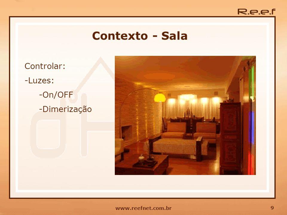9 www.reefnet.com.br Contexto - Sala Controlar: -Luzes: -On/OFF -Dimerização
