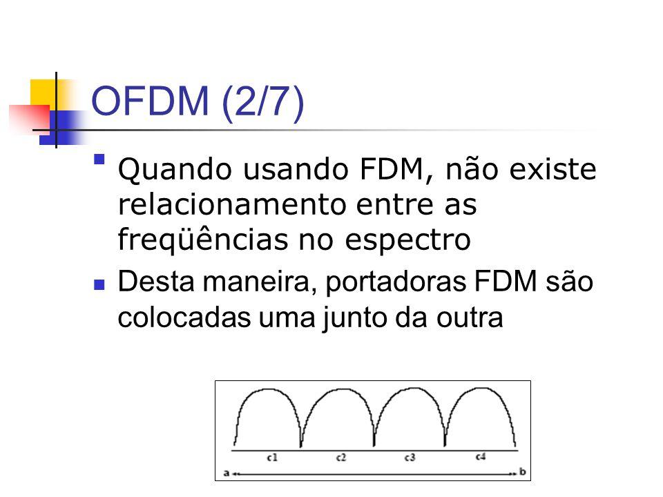 OFDM (2/7) Quando usando FDM, não existe relacionamento entre as freqüências no espectro Desta maneira, portadoras FDM são colocadas uma junto da outr