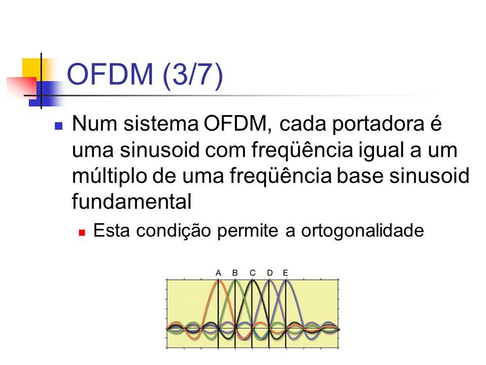 OFDM (3/7) Num sistema OFDM, cada portadora é uma sinusoid com freqüência igual a um múltiplo de uma freqüência base sinusoid fundamental Esta condiçã