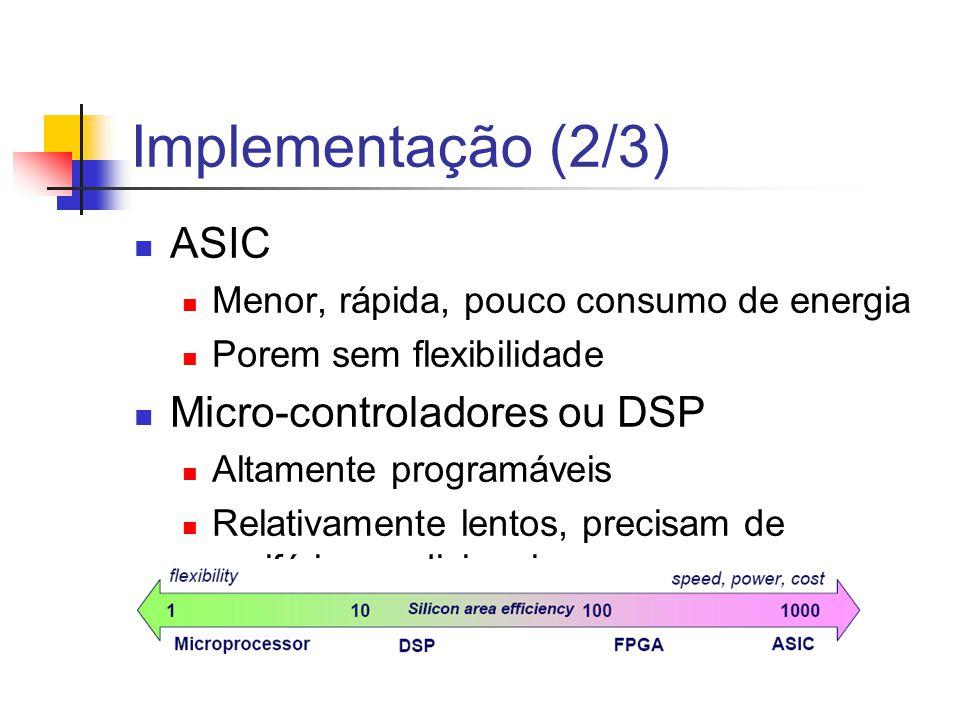 Implementação (2/3) ASIC Menor, rápida, pouco consumo de energia Porem sem flexibilidade Micro-controladores ou DSP Altamente programáveis Relativamen
