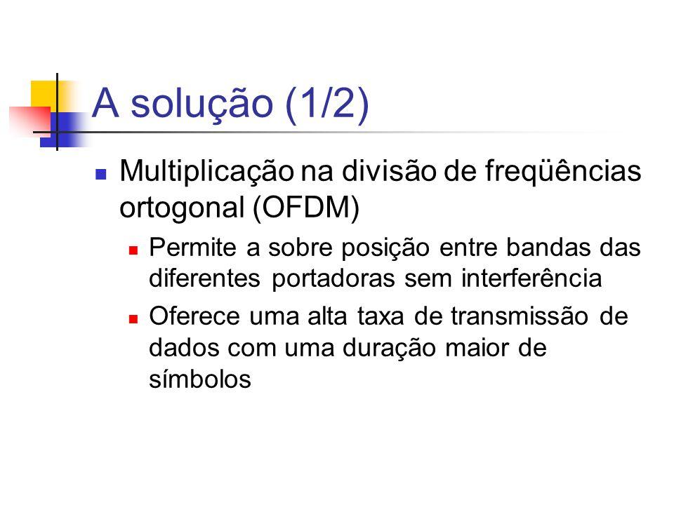 A solução (1/2) Multiplicação na divisão de freqüências ortogonal (OFDM) Permite a sobre posição entre bandas das diferentes portadoras sem interferên