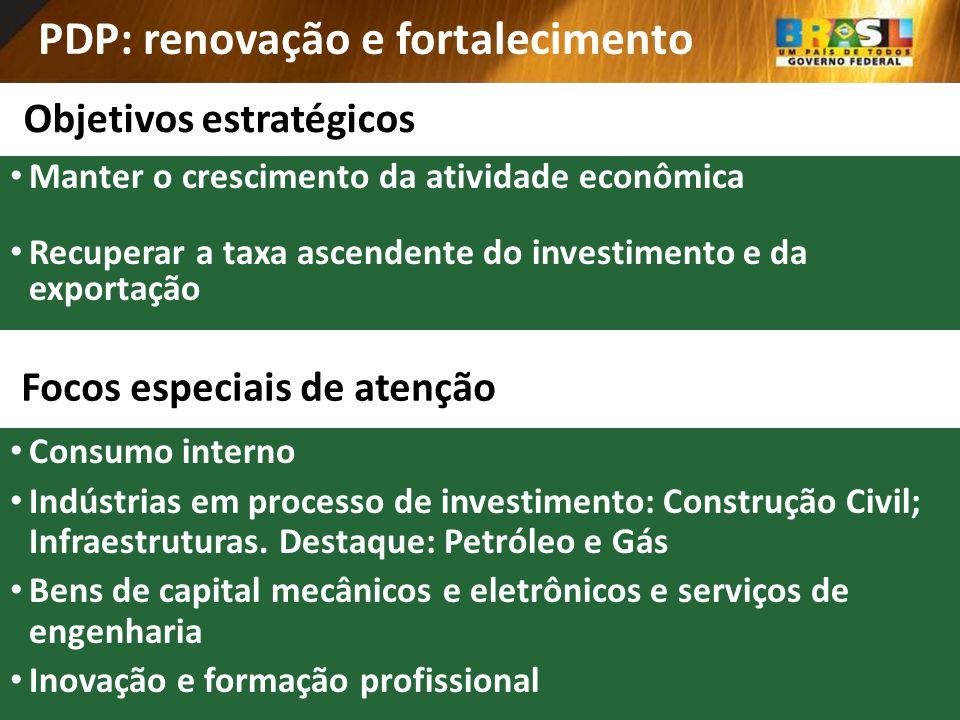 PDP: renovação e fortalecimento Objetivos estratégicos Manter o crescimento da atividade econômica Recuperar a taxa ascendente do investimento e da ex