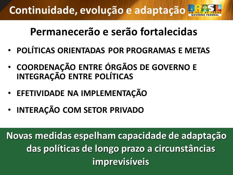 Continuidade, evolução e adaptação Novas medidas espelham capacidade de adaptação das políticas de longo prazo a circunstâncias imprevisíveis POLÍTICA
