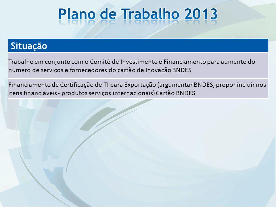 Situação Trabalho em conjunto com o Comitê de Investimento e Financiamento para aumento do numero de serviços e fornecedores do cartão de Inovação BND