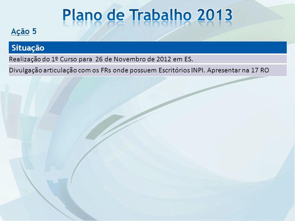 Ação 5 Situação Realização do 1º Curso para 26 de Novembro de 2012 em ES. Divulgação articulação com os FRs onde possuem Escritórios INPI. Apresentar