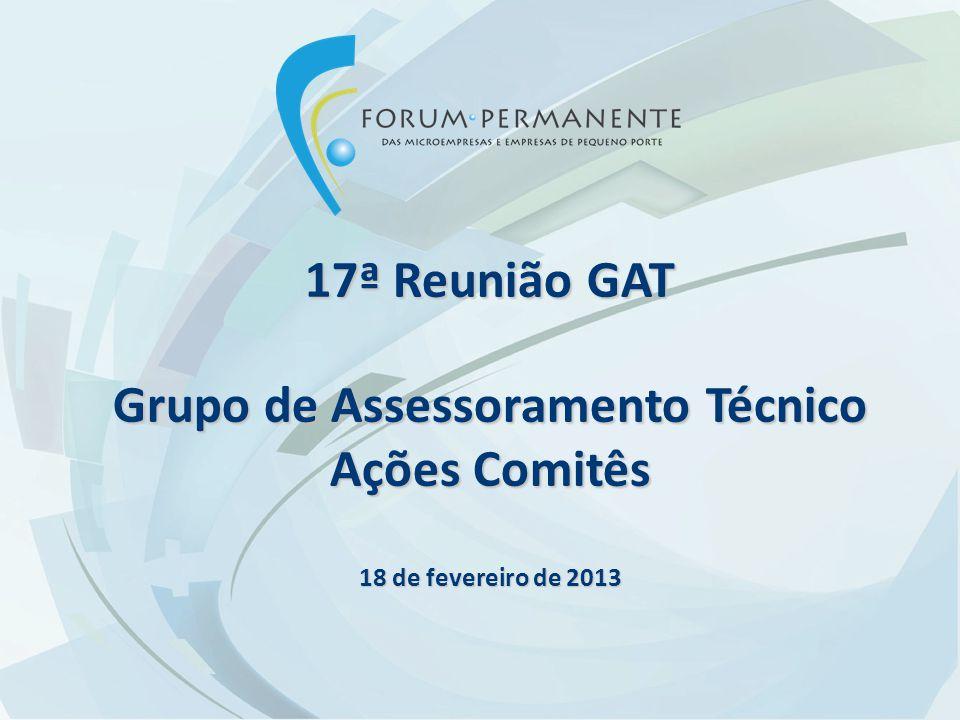 17ª Reunião GAT Grupo de Assessoramento Técnico Ações Comitês 18 de fevereiro de 2013