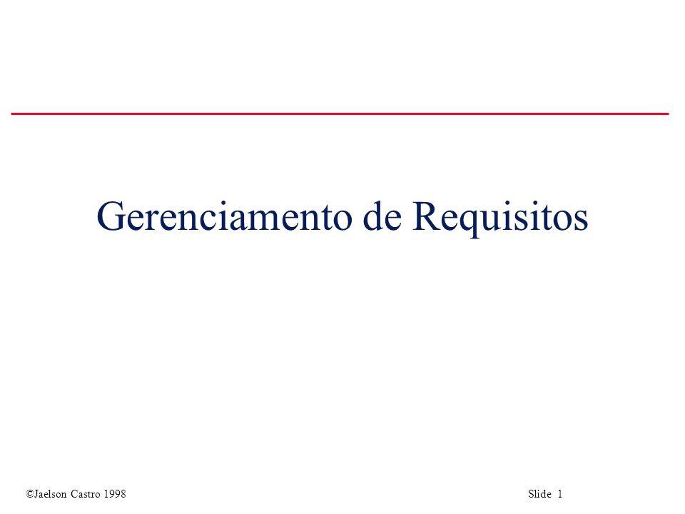 ©Jaelson Castro 1998 Slide 1 Gerenciamento de Requisitos