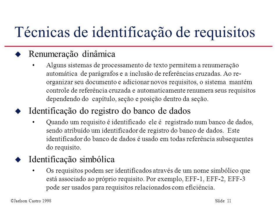 ©Jaelson Castro 1998 Slide 11 Técnicas de identificação de requisitos u Renumeração dinâmica Alguns sistemas de processamento de texto permitem a renumeração automática de parágrafos e a inclusão de referências cruzadas.