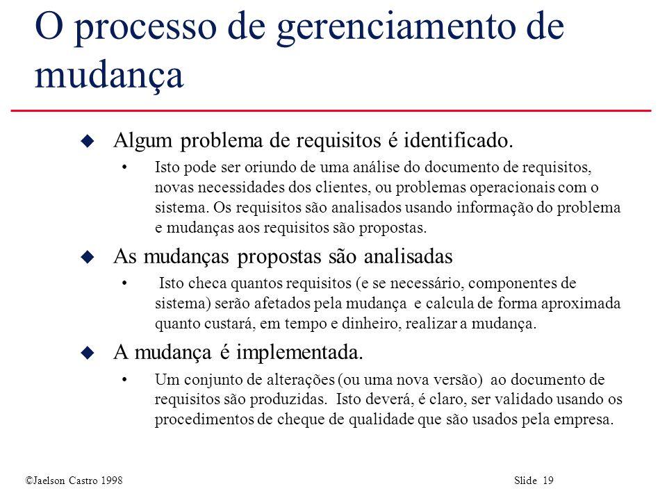 ©Jaelson Castro 1998 Slide 19 O processo de gerenciamento de mudança u Algum problema de requisitos é identificado.