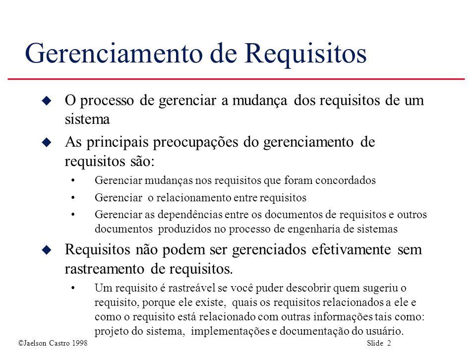 ©Jaelson Castro 1998 Slide 2 Gerenciamento de Requisitos u O processo de gerenciar a mudança dos requisitos de um sistema u As principais preocupações do gerenciamento de requisitos são: Gerenciar mudanças nos requisitos que foram concordados Gerenciar o relacionamento entre requisitos Gerenciar as dependências entre os documentos de requisitos e outros documentos produzidos no processo de engenharia de sistemas u Requisitos não podem ser gerenciados efetivamente sem rastreamento de requisitos.