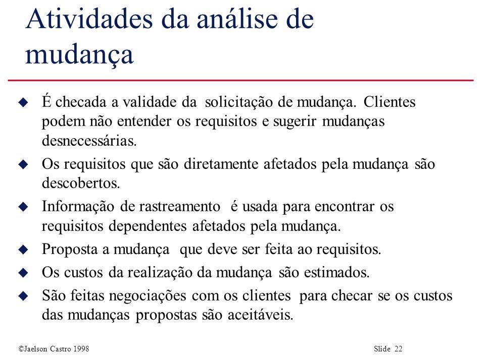 ©Jaelson Castro 1998 Slide 22 Atividades da análise de mudança u É checada a validade da solicitação de mudança.
