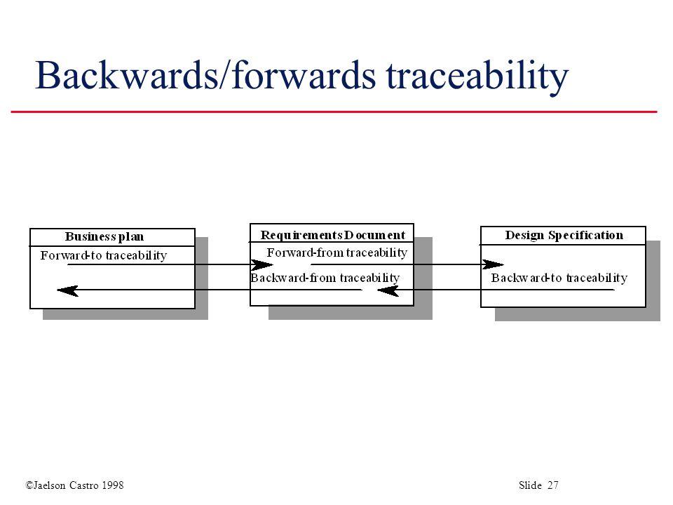 ©Jaelson Castro 1998 Slide 27 Backwards/forwards traceability
