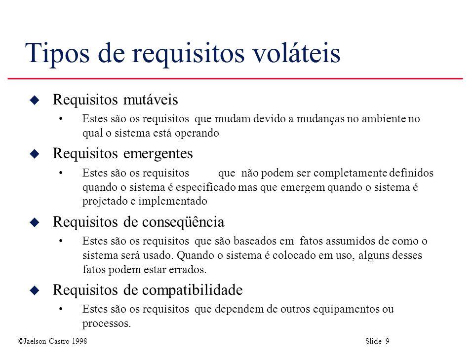 ©Jaelson Castro 1998 Slide 9 Tipos de requisitos voláteis u Requisitos mutáveis Estes são os requisitos que mudam devido a mudanças no ambiente no qual o sistema está operando u Requisitos emergentes Estes são os requisitos que não podem ser completamente definidos quando o sistema é especificado mas que emergem quando o sistema é projetado e implementado u Requisitos de conseqüência Estes são os requisitos que são baseados em fatos assumidos de como o sistema será usado.