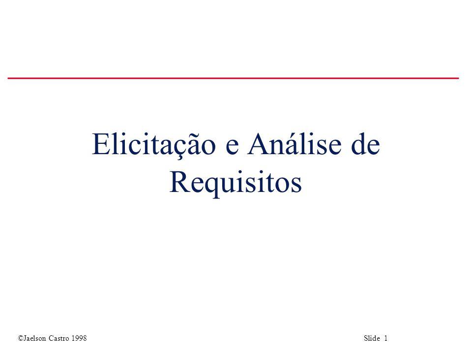 ©Jaelson Castro 1998 Slide 42 Técnicas de Elicitação u Sempre perguntar: o que.
