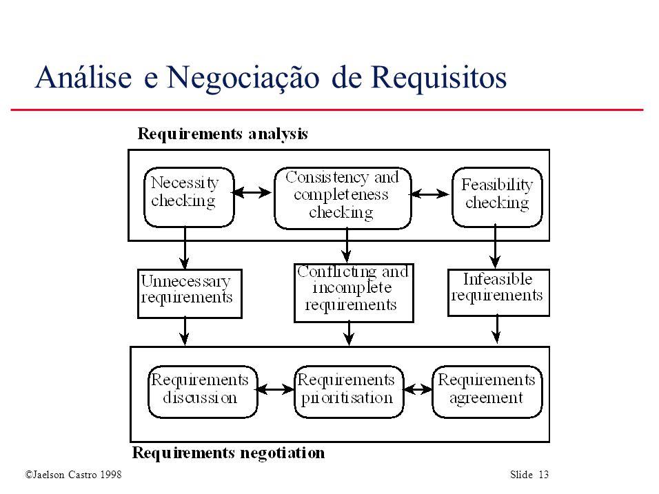 ©Jaelson Castro 1998 Slide 13 Análise e Negociação de Requisitos