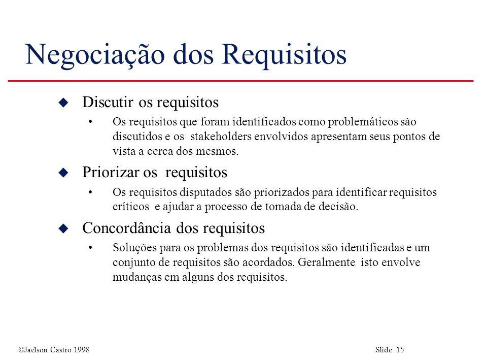 ©Jaelson Castro 1998 Slide 15 Negociação dos Requisitos u Discutir os requisitos Os requisitos que foram identificados como problemáticos são discutidos e os stakeholders envolvidos apresentam seus pontos de vista a cerca dos mesmos.