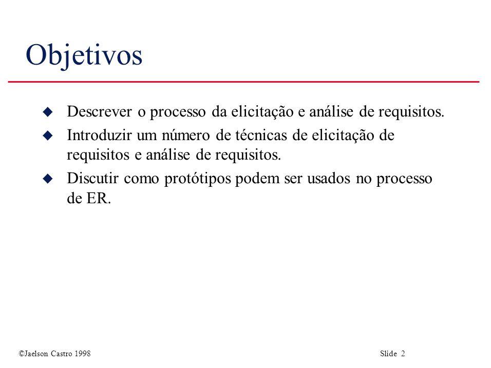 ©Jaelson Castro 1998 Slide 33 Observação e Análise Social u As pessoas geralmente acham difícil descrever o que elas fazem pois isto é muito natural para elas.