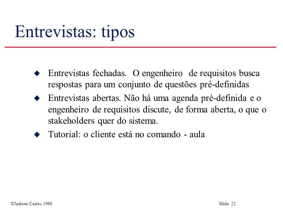 ©Jaelson Castro 1998 Slide 21 Entrevistas: tipos u Entrevistas fechadas.