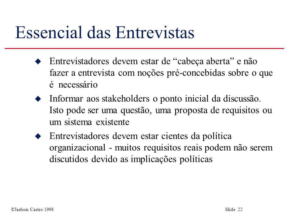 ©Jaelson Castro 1998 Slide 22 Essencial das Entrevistas u Entrevistadores devem estar de cabeça aberta e não fazer a entrevista com noções pré-concebidas sobre o que é necessário u Informar aos stakeholders o ponto inicial da discussão.