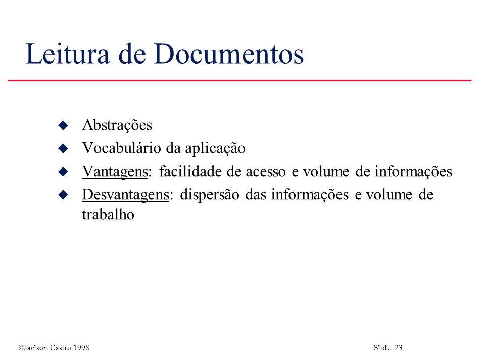 ©Jaelson Castro 1998 Slide 23 Leitura de Documentos u Abstrações u Vocabulário da aplicação u Vantagens: facilidade de acesso e volume de informações u Desvantagens: dispersão das informações e volume de trabalho