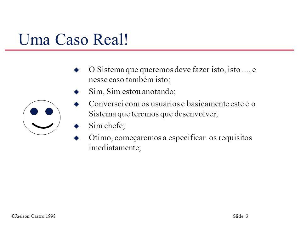 ©Jaelson Castro 1998 Slide 4 ELICITAÇÃO DE REQUISITOS MOTIVAÇÃO (Cont....)...