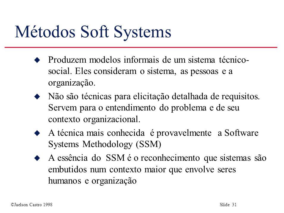 ©Jaelson Castro 1998 Slide 31 Métodos Soft Systems u Produzem modelos informais de um sistema técnico- social.