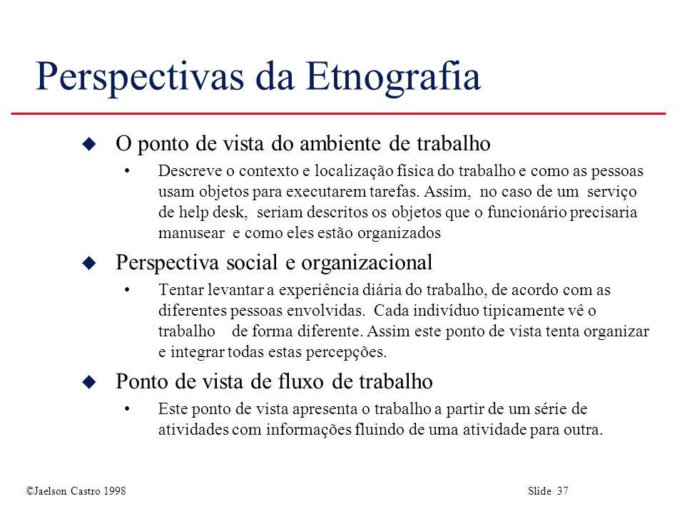 ©Jaelson Castro 1998 Slide 37 Perspectivas da Etnografia u O ponto de vista do ambiente de trabalho Descreve o contexto e localização física do trabalho e como as pessoas usam objetos para executarem tarefas.