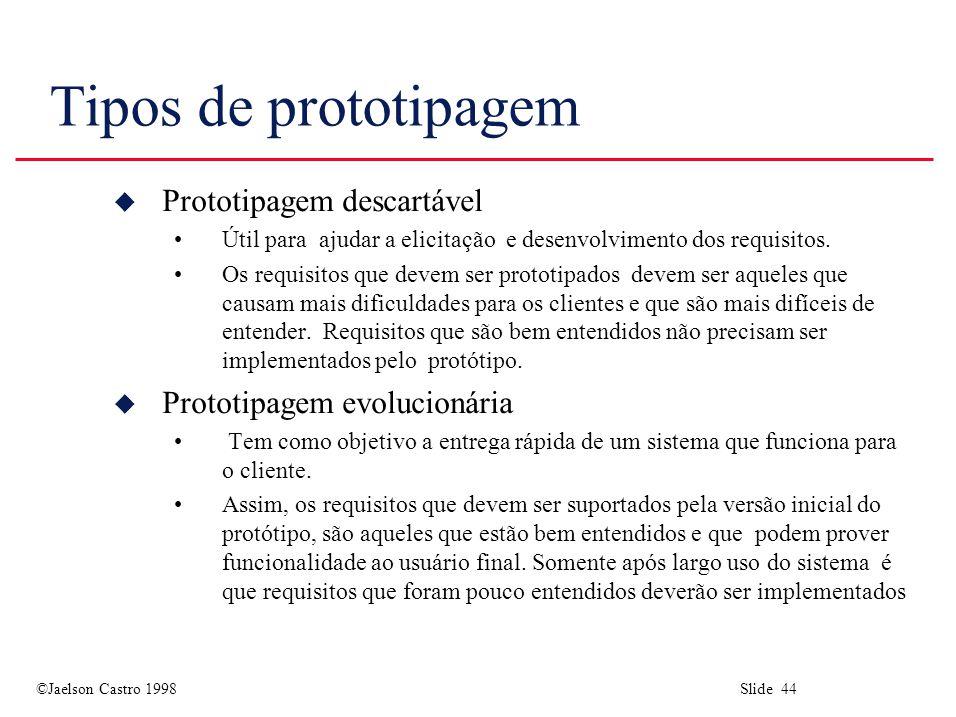 ©Jaelson Castro 1998 Slide 44 Tipos de prototipagem u Prototipagem descartável Útil para ajudar a elicitação e desenvolvimento dos requisitos.