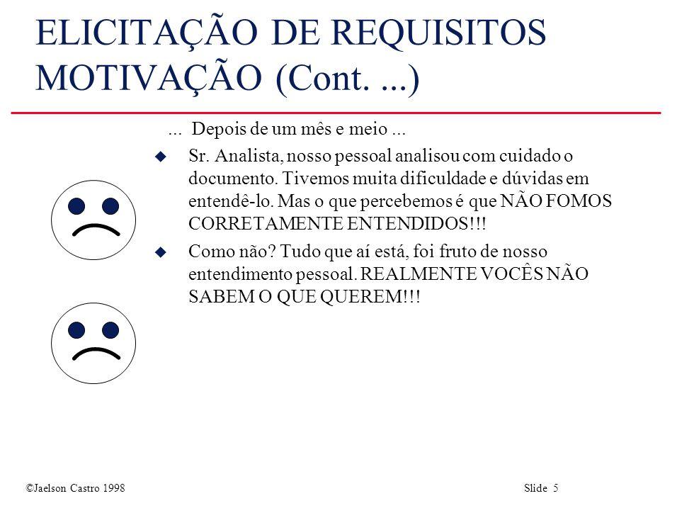 ©Jaelson Castro 1998 Slide 5 ELICITAÇÃO DE REQUISITOS MOTIVAÇÃO (Cont....)...