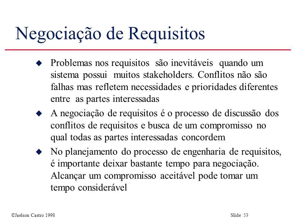 ©Jaelson Castro 1998 Slide 53 Negociação de Requisitos u Problemas nos requisitos são inevitáveis quando um sistema possui muitos stakeholders.