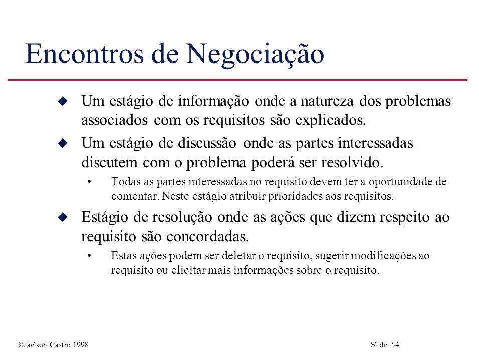 ©Jaelson Castro 1998 Slide 54 Encontros de Negociação u Um estágio de informação onde a natureza dos problemas associados com os requisitos são explicados.