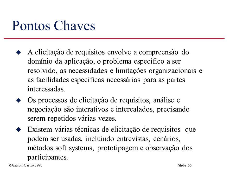 ©Jaelson Castro 1998 Slide 55 Pontos Chaves u A elicitação de requisitos envolve a compreensão do domínio da aplicação, o problema específico a ser resolvido, as necessidades e limitações organizacionais e as facilidades especificas necessárias para as partes interessadas.