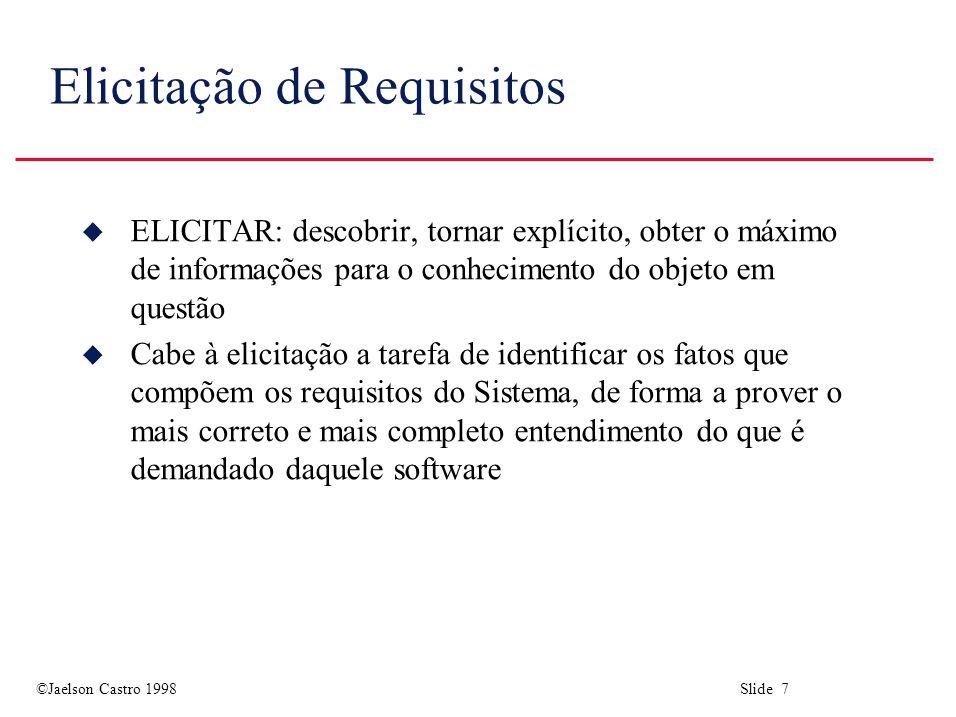 ©Jaelson Castro 1998 Slide 48 Análise de Requisitos u O objetivo da análise é descobrir problemas, incompletude e inconsistência nos requisitos elicitados.