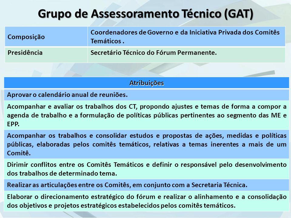 Grupo de Assessoramento Técnico (GAT) Composição Coordenadores de Governo e da Iniciativa Privada dos Comitês Temáticos.