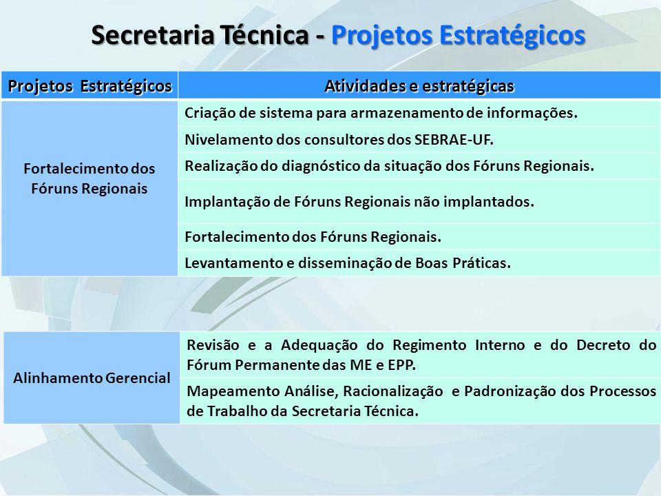 Secretaria Técnica - Projetos Estratégicos Projetos Estratégicos Atividades e estratégicas Fortalecimento dos Fóruns Regionais Criação de sistema para armazenamento de informações.