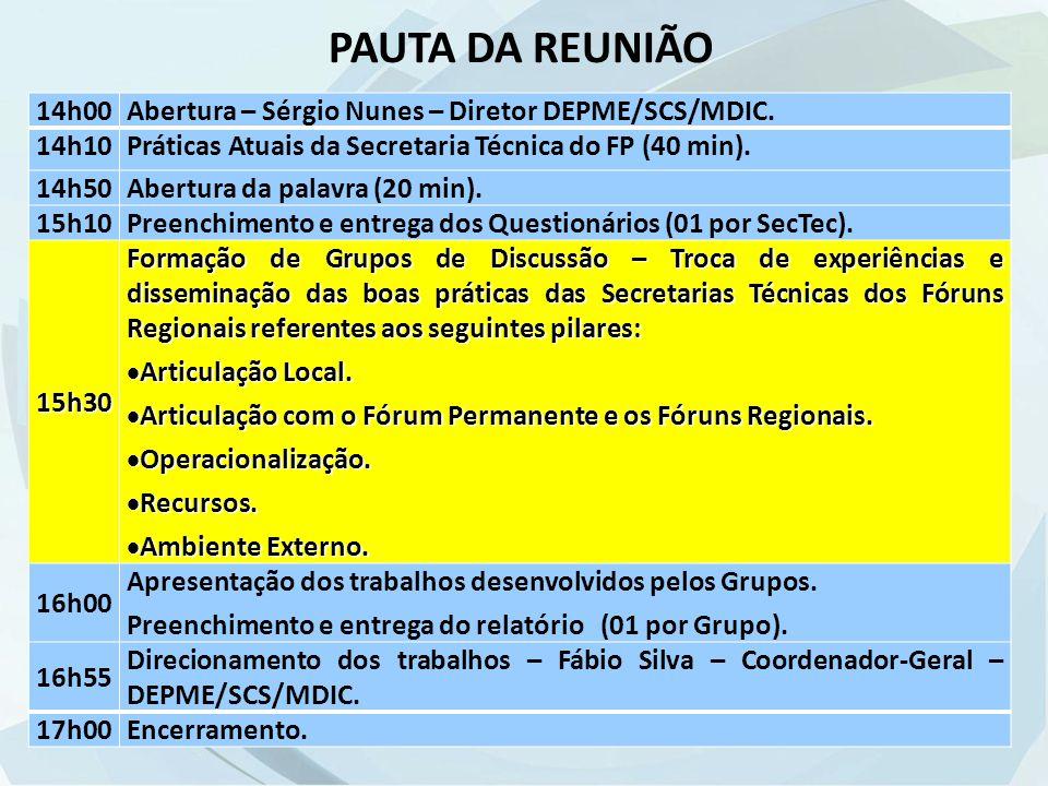14h00Abertura – Sérgio Nunes – Diretor DEPME/SCS/MDIC.