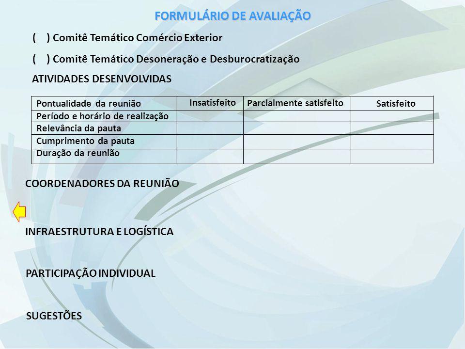 FORMULÁRIO DE AVALIAÇÃO ( ) Comitê Temático Comércio Exterior ( ) Comitê Temático Desoneração e Desburocratização ATIVIDADES DESENVOLVIDAS COORDENADORES DA REUNIÃO INFRAESTRUTURA E LOGÍSTICA PARTICIPAÇÃO INDIVIDUAL SUGESTÕES Pontualidade da reunião Período e horário de realização Relevância da pauta Cumprimento da pauta Duração da reunião Insatisfeito Satisfeito Parcialmente satisfeito