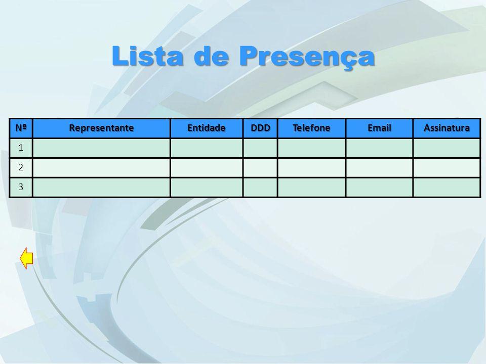 NºRepresentanteEntidadeDDDTelefoneEmailAssinatura 1 2 3 Lista de Presença