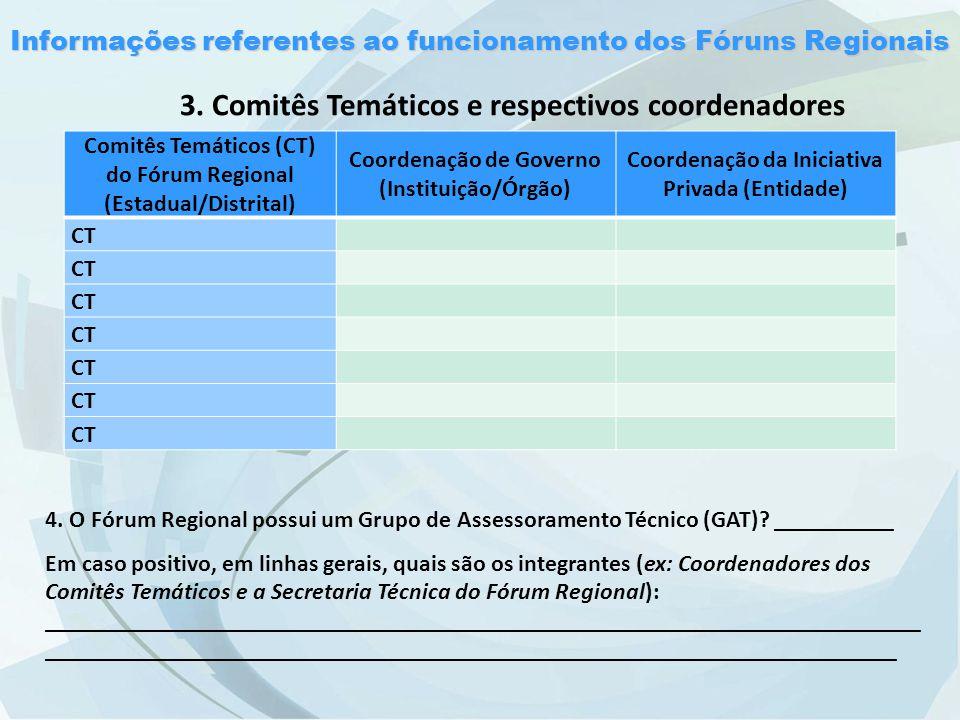 Informações referentes ao funcionamento dos Fóruns Regionais 3.