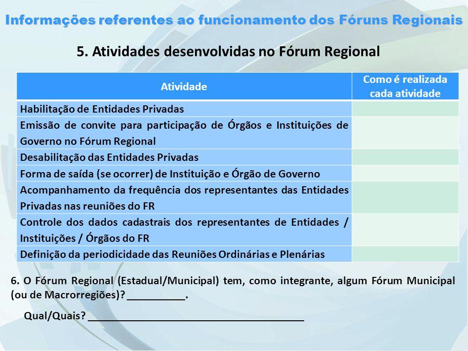 Informações referentes ao funcionamento dos Fóruns Regionais 5.