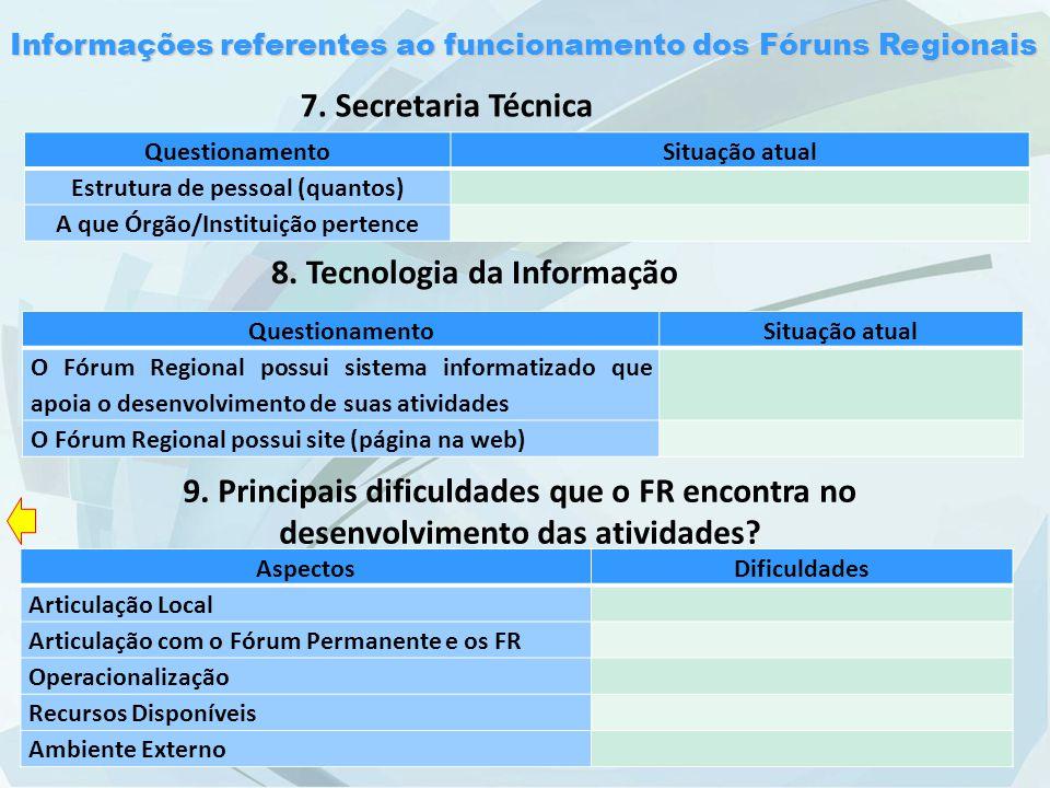Informações referentes ao funcionamento dos Fóruns Regionais 8.