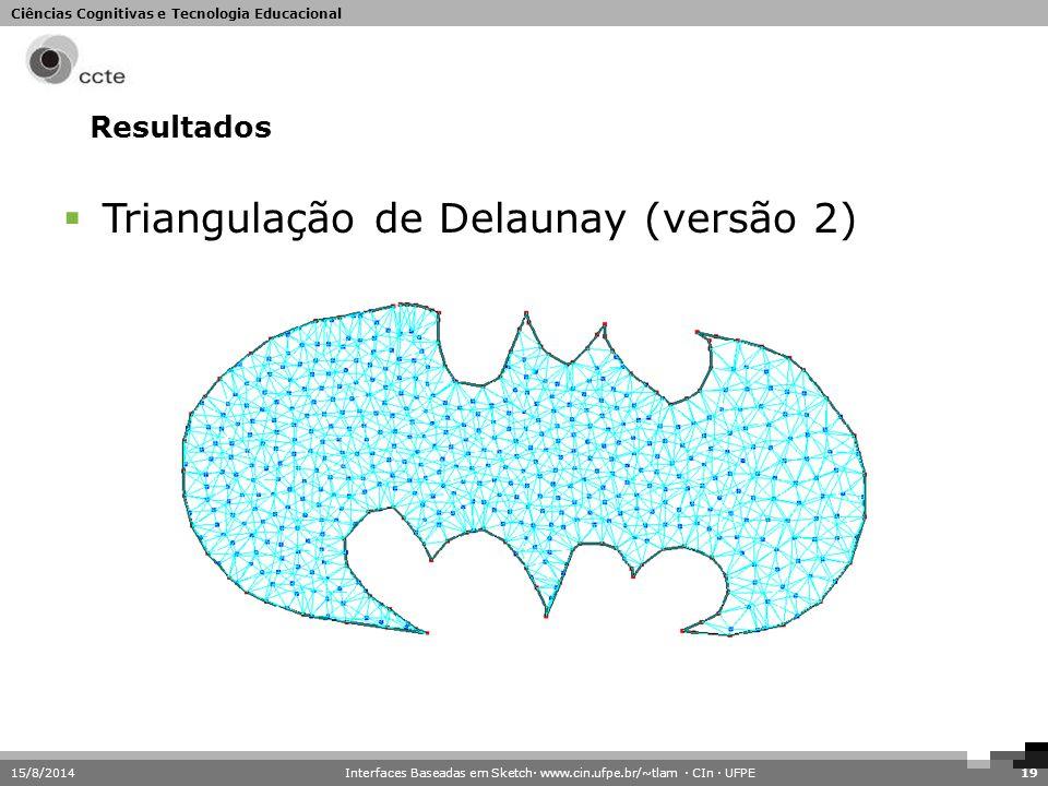Ciências Cognitivas e Tecnologia Educacional 15/8/201419 Resultados  Triangulação de Delaunay (versão 2) Interfaces Baseadas em Sketch· www.cin.ufpe.