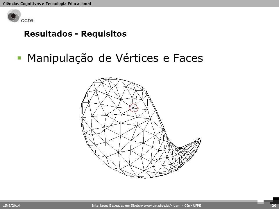 Ciências Cognitivas e Tecnologia Educacional 15/8/201420 Resultados - Requisitos  Manipulação de Vértices e Faces Interfaces Baseadas em Sketch· www.
