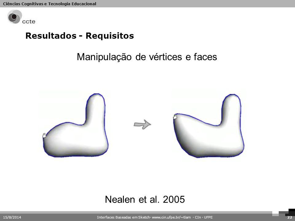Ciências Cognitivas e Tecnologia Educacional Resultados - Requisitos 15/8/201422 Manipulação de vértices e faces Nealen et al. 2005 Interfaces Baseada
