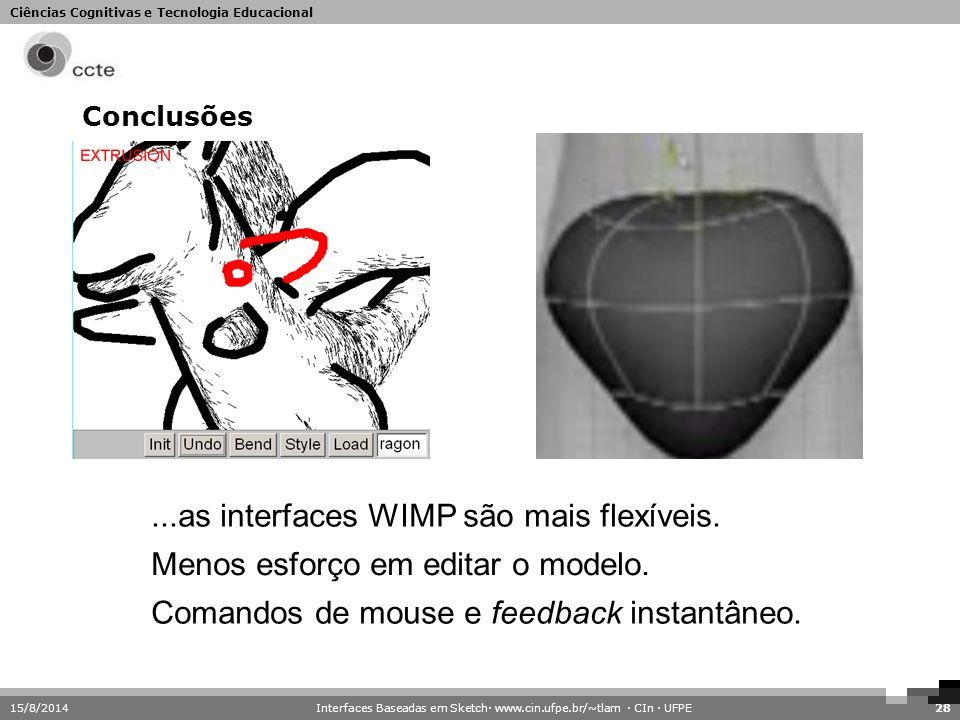 Ciências Cognitivas e Tecnologia Educacional Conclusões 15/8/201428...as interfaces WIMP são mais flexíveis. Comandos de mouse e feedback instantâneo.