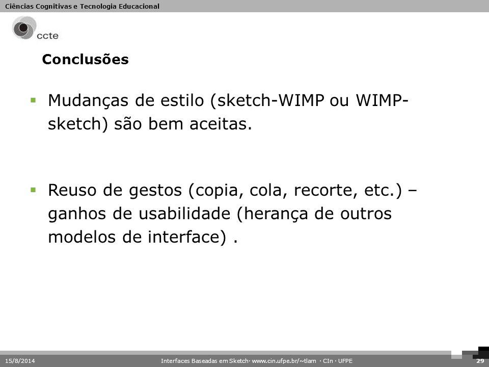 Ciências Cognitivas e Tecnologia Educacional Conclusões 15/8/201429  Mudanças de estilo (sketch-WIMP ou WIMP- sketch) são bem aceitas.  Reuso de ges