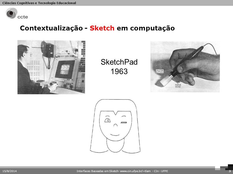 Ciências Cognitivas e Tecnologia Educacional 15/8/20143 Contextualização - Sketch em computação SketchPad 1963 Interfaces Baseadas em Sketch· www.cin.