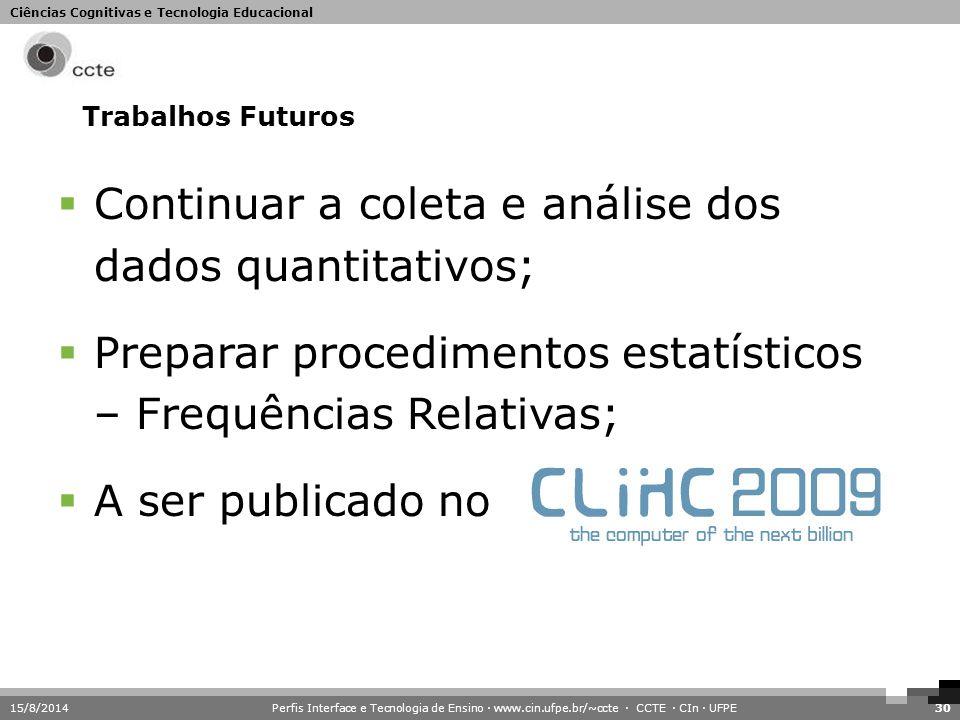 Ciências Cognitivas e Tecnologia Educacional Trabalhos Futuros 15/8/2014Perfis Interface e Tecnologia de Ensino · www.cin.ufpe.br/~ccte · CCTE · CIn ·