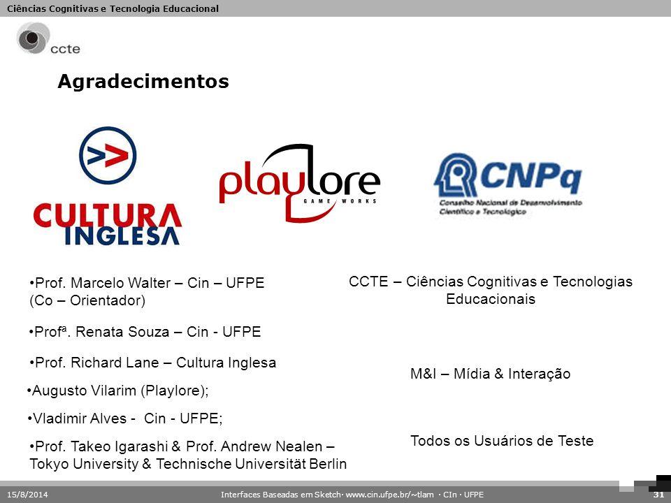 Ciências Cognitivas e Tecnologia Educacional Agradecimentos 15/8/201431 Prof. Marcelo Walter – Cin – UFPE (Co – Orientador) Profª. Renata Souza – Cin